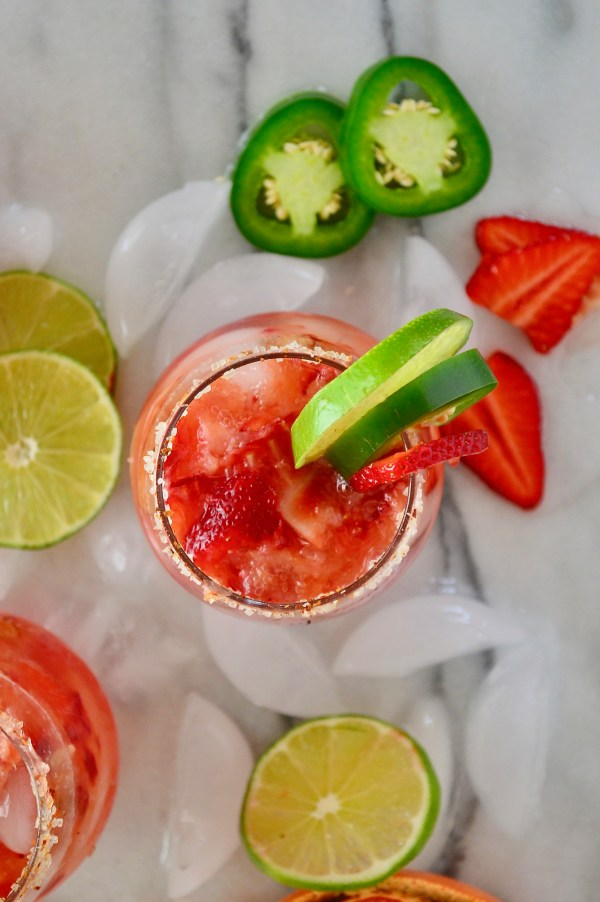Roasted Grapefruit, Strawberry & Jalapeno Paloma Cocktails | Real Food with Dana