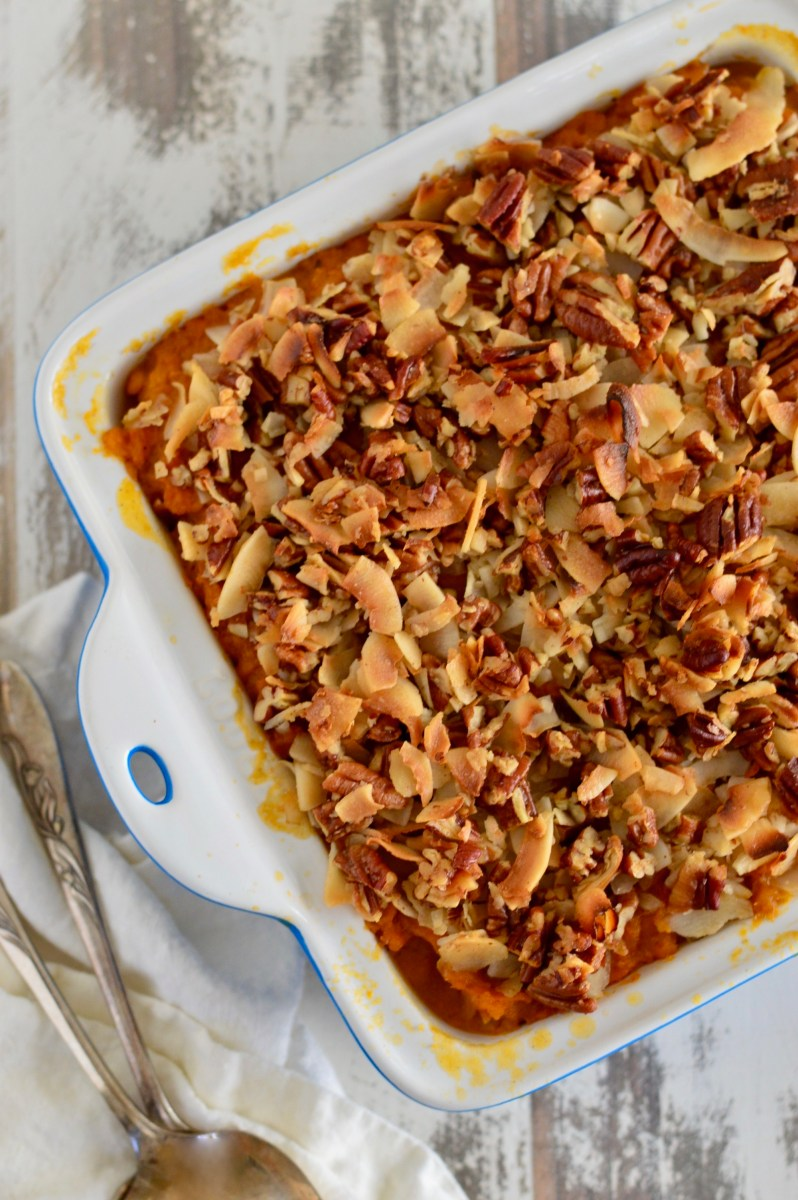 Paleo Slow Cooker Sweet Potato Casserole with Toasted Coconut-Pecan Topping