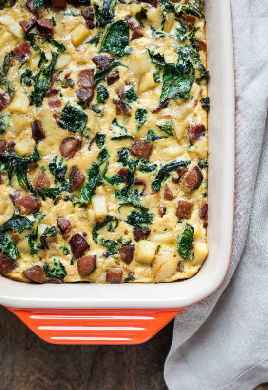 Paleo Breakfast Casserole with Bacon, Sausage, Sweet Potato & Kale   A Calculated Whisk