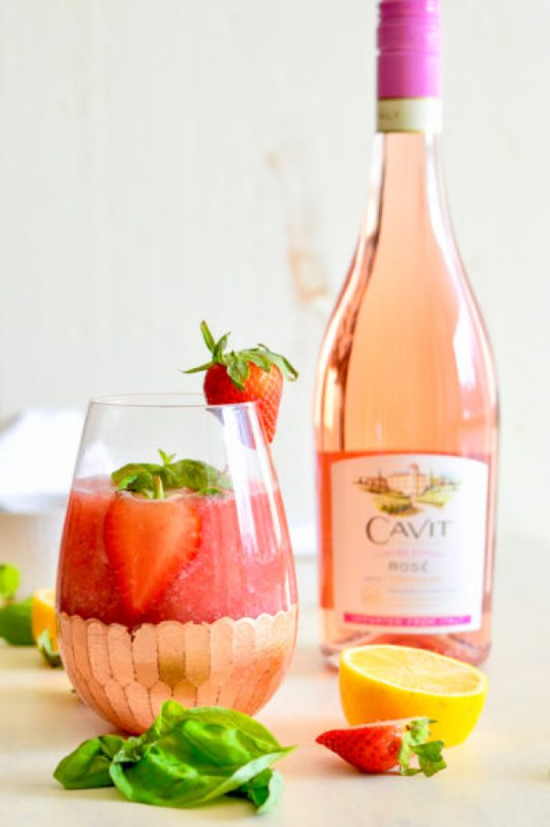 Strawberry Basil Frosé (Frozen Rosé)   Real Food with Dana