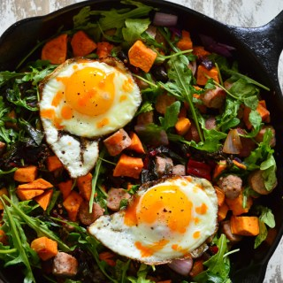 One Pan Breakfast Skillet with Sausage, Eggs and Greens | Real Food with Dana