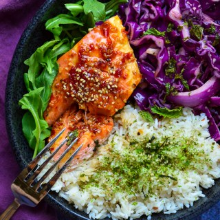 Sweet & Spicy Honey Ginger Salmon with Asian Red Cabbage Slaw | Real Food with Dana