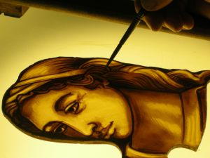 Stained glass painting with oil - it comes out as it goes in