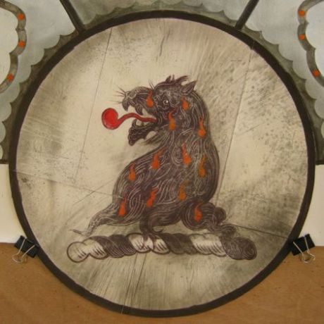 Stained glass design: lion