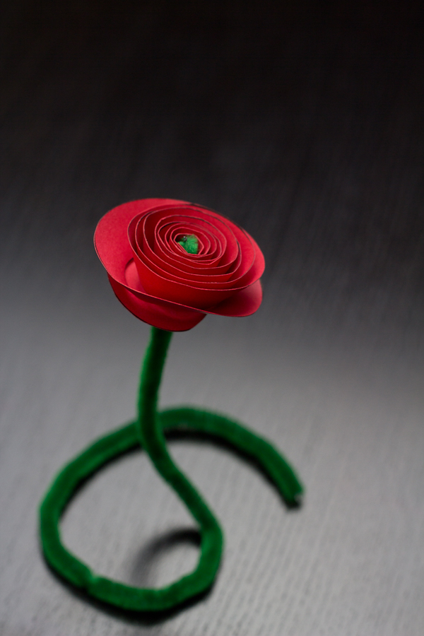 Valentine's paper rose cutout - with a free printable and step-by-step directions