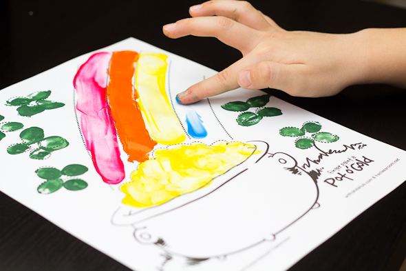 Saint Patrick's Day Rainbow Painting Activity with Free Printable