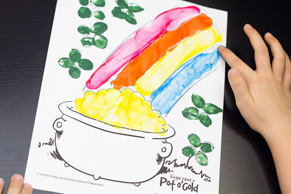 Saint Patrick's Day Finger Painting Activity with Free Printable