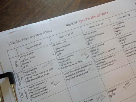 Homeschool Planning Page