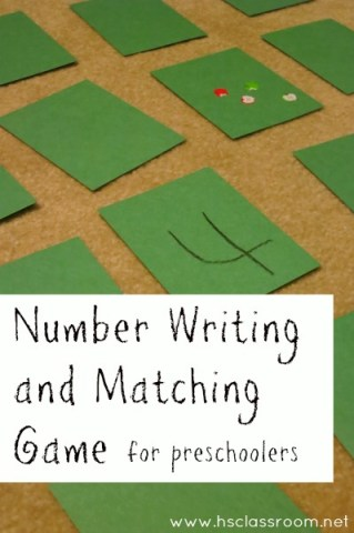 Number Writing and Matching Game for Preschoolers | The Homeschool Classroom
