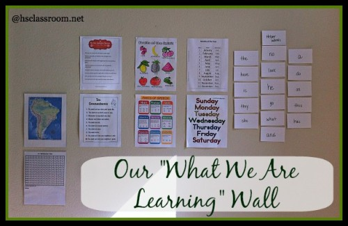 What we are learning wall