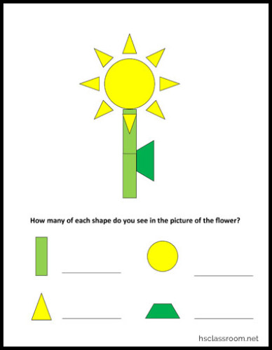 Shape Identification and Counting Worksheet Printable