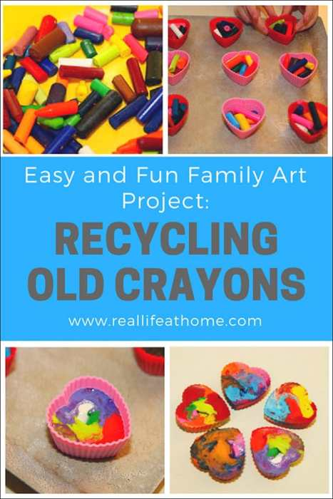 Easy and Fun Family Art Project to Upcycle Crayons: Recycling Old Crayons into New Rainbow Crayons | Real Life at Home