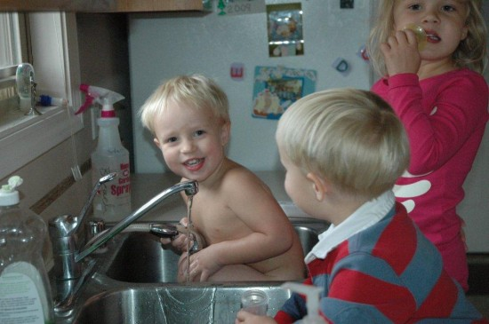kids in the sink