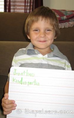 Jonathan's Kindergarten School Picture