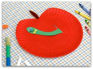 apple craft with worm