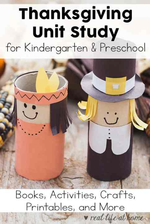 Putting together a Thanksgiving Unit Study for Preschool and Kindergarten children? You'll want to check out this post of books, activities, crafts, printables, and more to put together a wonderful Thanksgiving Unit Study.