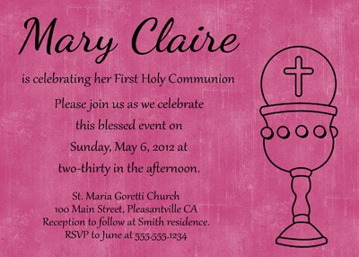 First Communion Chalice Invitation in Pink