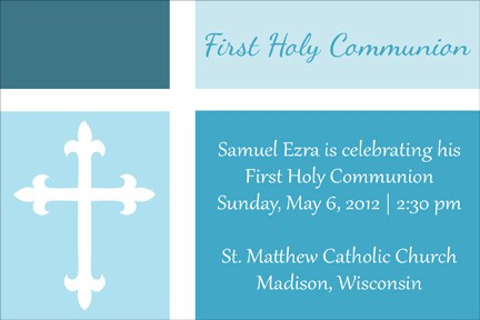 First Communion Invitation - Color Blocked in Blue
