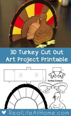 3D Turkey Cut Out Downloadable Art Project