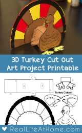 Thanksgiving 3D Turkey Cutout Downloadable Art Project