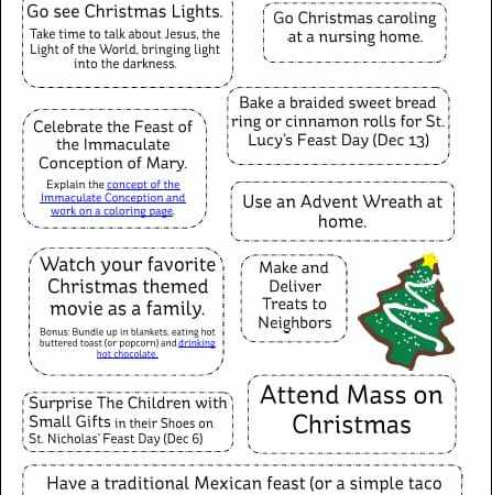 10 December Activities for Catholic Families {Free Printable}