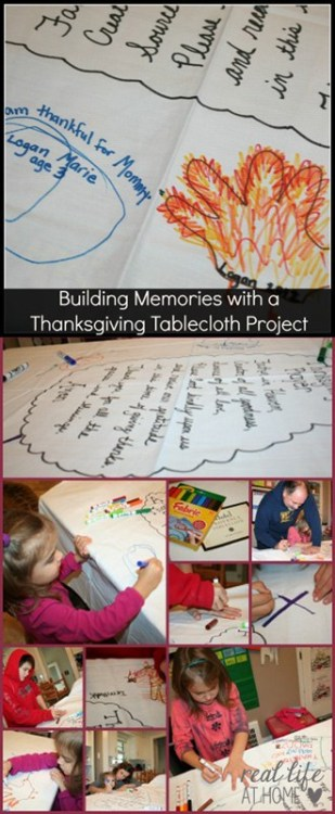 Want to create a new tradition for the holidays? This Thanksgiving Tablecloth Project is low key but sure to add lots of memories and fun to your holidays.   Real Life at Home