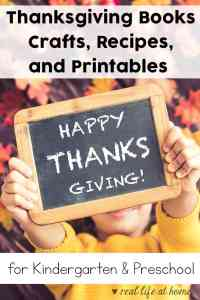 Thanksgiving books, crafts, recipes, and printables for kindergarten and preschool