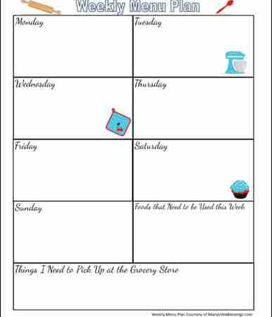 Free Printable Weekly Menu Planning Page
