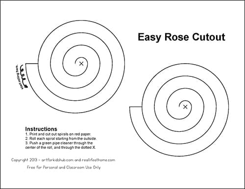 Paper Rose Cutout Template (Download Full Version at RealLifeAtHome.com)