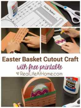 Easter basket cutout craft with free printable