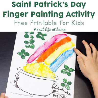Fun Saint Patrick's Day finger painting activity for your kids (and you). Finger paint a pot of gold! Download the free Saint Patrick's Day coloring page and be sure to print an extra for yourself.