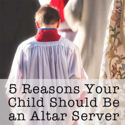"5 Reasons Your Child Should be an Altar Server: A reflection from a mother of five on why she enjoys having her children serve and why it's an important role for them to do. This post also includes a free downloadable handout of ""5 Reasons Your Child Should be an Altar Server"" that may be used in parishes for educational purposes."