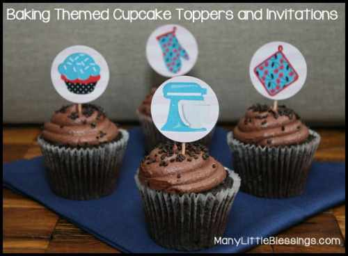 Baking Themed Cupcake Toppers and Invitations | Many Little Blessings