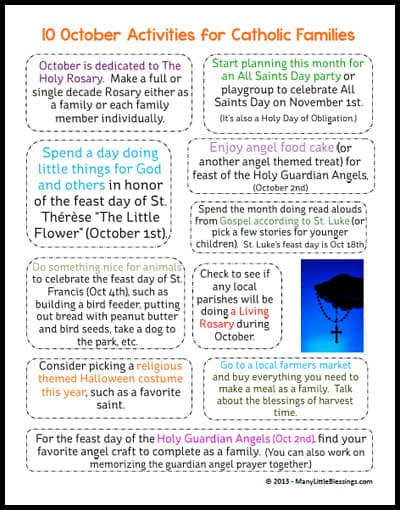 Printable Page of October Activities for Catholic Families