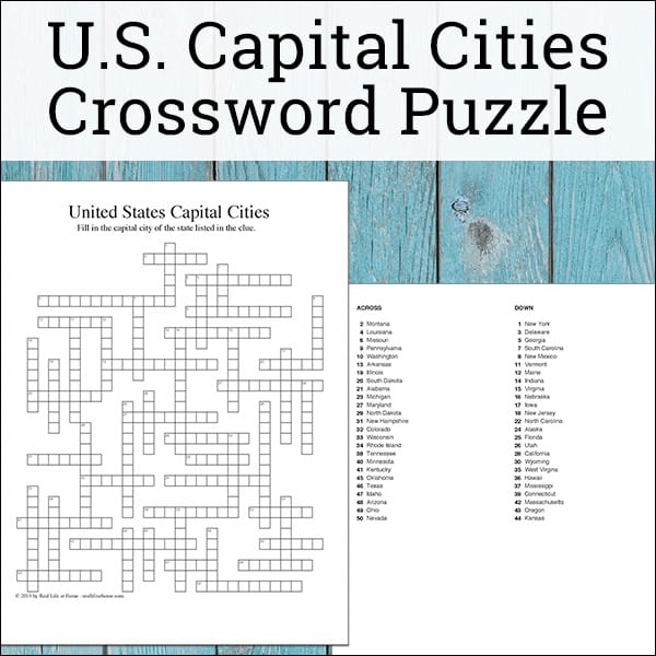 United States State Capitals Crossword Puzzle Free Printable