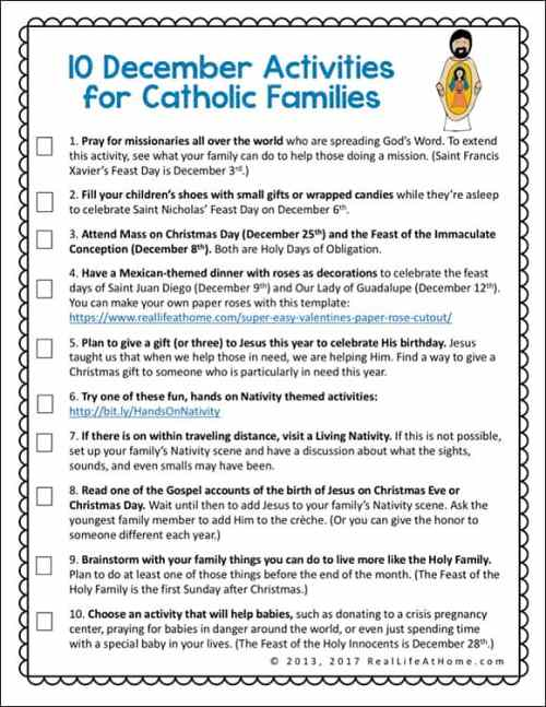 Strengthen your family's faith life with this free printable featuring ten ideas for activities for Catholic families in December. | Real Life at Home #CatholicKids #CatholicFamilies #CatholicActivities