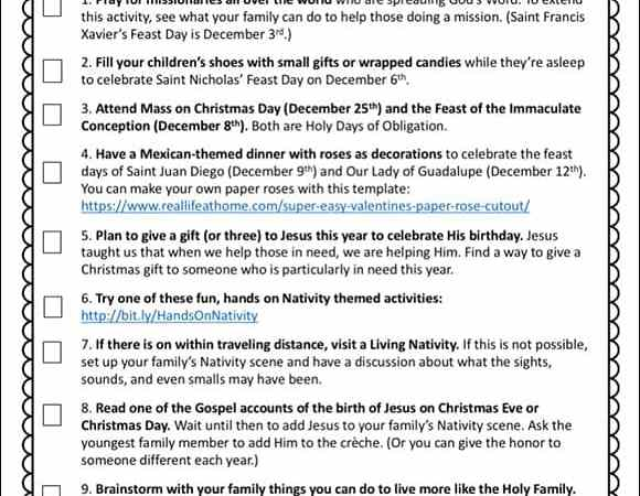 10 Activities for Catholic Families in December {Printable}