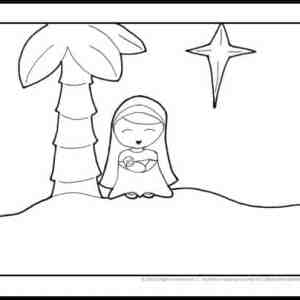 Mary and Baby Jesus Coloring Page