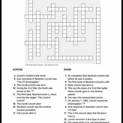 Abraham Lincoln Crossword
