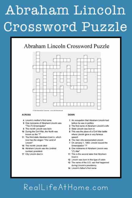 Abraham Lincoln Crossword Puzzle Printable for Kids and Teens