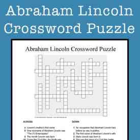 Abraham Lincoln Crossword Puzzle Printable for Kids