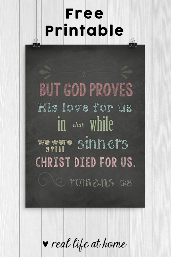 graphic about Free Printable Scripture Art called No cost Romans 5:8 Scripture Artwork: Though We Have been Nevertheless Sinners