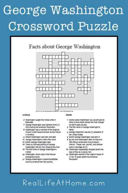 George Washington Crossword Puzzle Printable for Kids and Teens