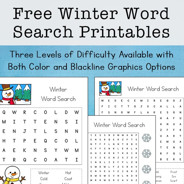 Free Winter Word Search Printable for Kids (with Three Levels of Difficulty)