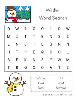Free Winter Word Search Printable For Kids With Three Levels Of