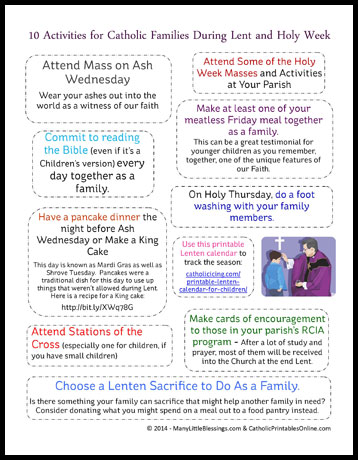 picture about Holy Week Activities Printable identified as 10 Lent and Holy 7 days Things to do for Catholic Households Printable