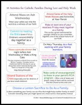 10 Lent and Holy Week Activities for Catholic Families Printable
