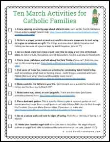 March Activities for Catholic Families