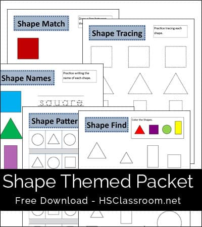 Shapes Themed Printables Packet