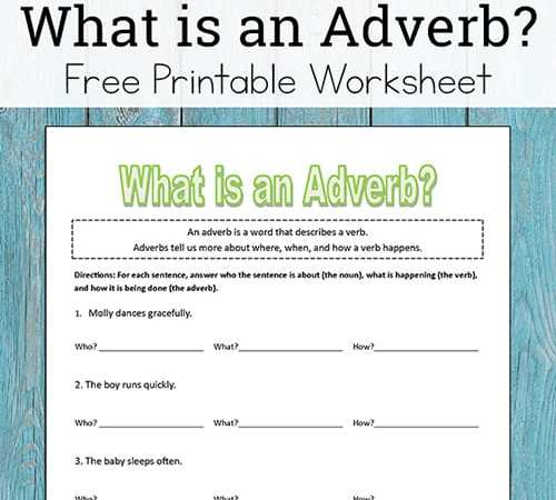What is an Adverb? (Free Adverb Worksheet for Kids)